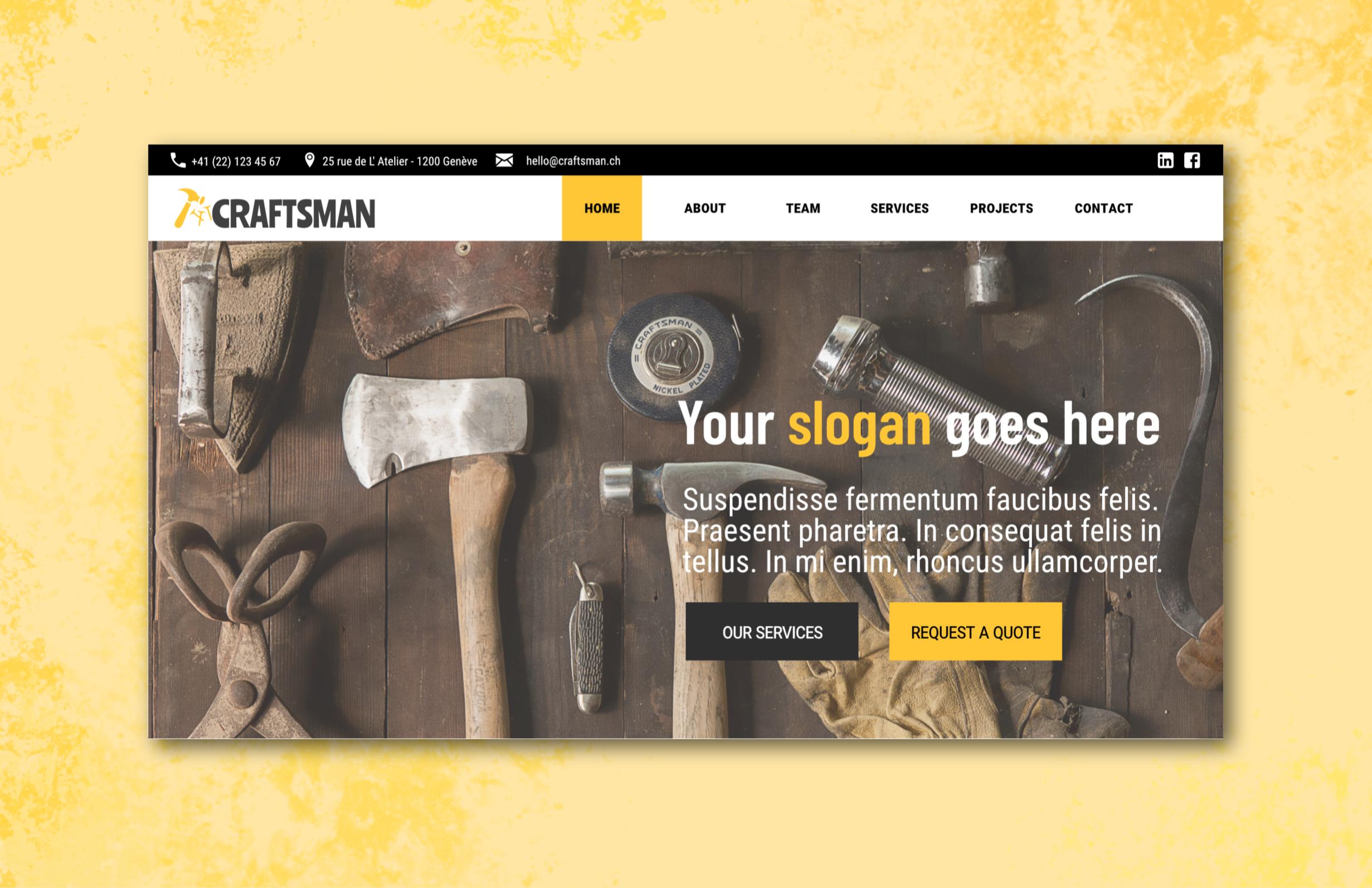 Services Website screenshot